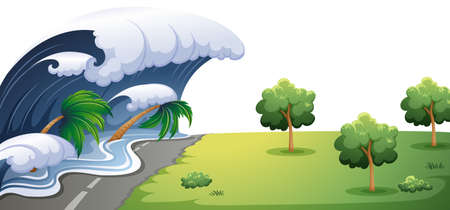 Big wave hit the road illustration