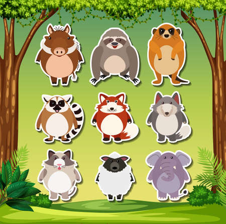 Set of exotic animal sticker illustration Stock Vector - 120410031