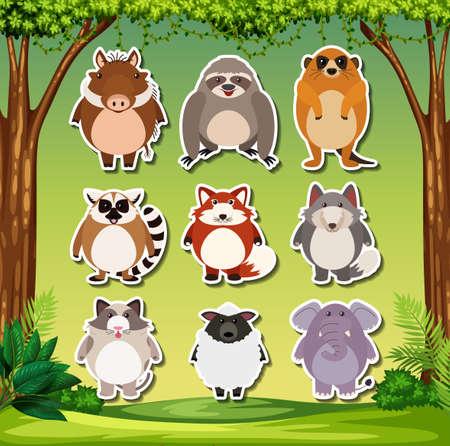 Set of exotic animal sticker illustration