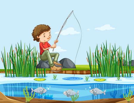 Un homme pêchant au bord du lac illustration