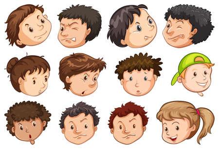 Set of peoples head illustration Vetores