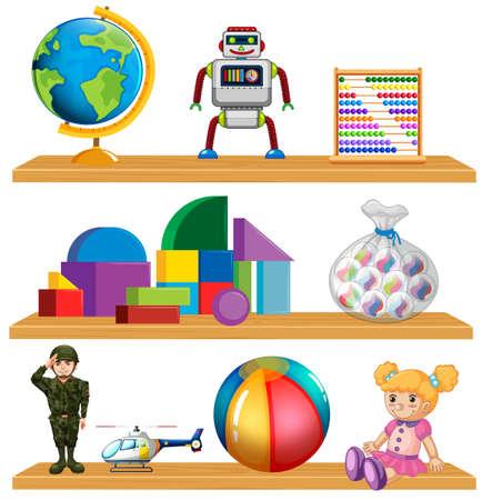 Children toys on shelf illustration Illustration