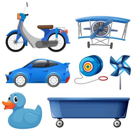 Set of blue object illustration