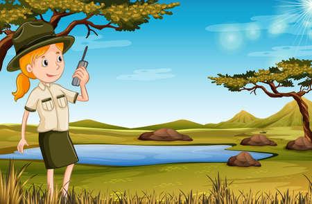 Cuidador del zoológico en la ilustración de la naturaleza