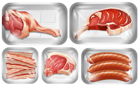 Set of meat warpping in the tray illustration Illustration