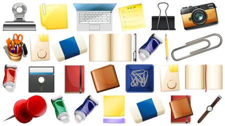 Set of different objects illustration Illustration