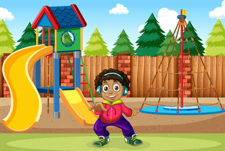 A boy listen to music at the playground illustration