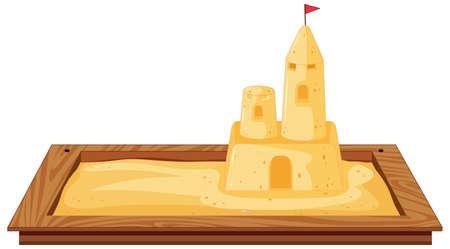 Isolated sandpit on white background illustration Illustration