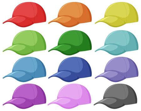 Ensemble d'illustrations différentes de casquette
