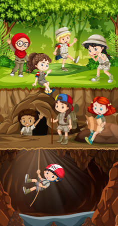 Group of scout exploring forest illustration