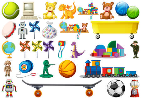 Zestaw ilustracji zabawek dla dzieci
