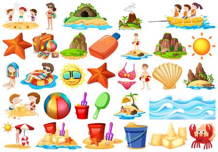 Set of beach element illustration