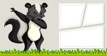Skunk on note template illustration