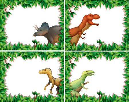Set of dinosaur in nature frame illustration