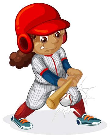 A female baseball player illustration