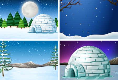 Set of winter landscape illustration Иллюстрация