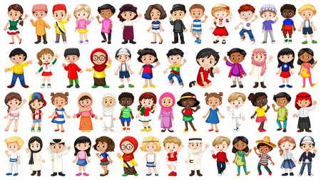 Satz von internationalen Kindercharakterillustrationen