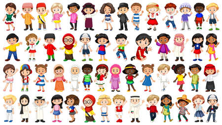 Set of international kids character illustration