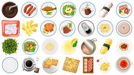 Set of food aerial view illustration