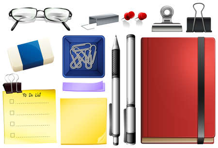 Set of stationary object illustration Illustration