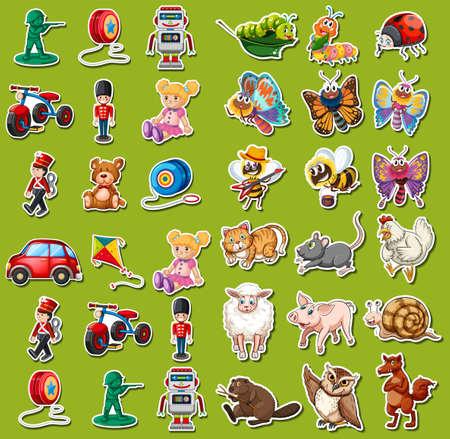 Set of toys sticker illustration