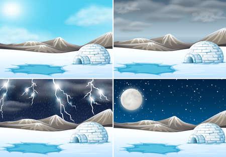 Set of winter landscape different weather illustration