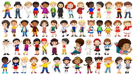 Set of international kids character illustration