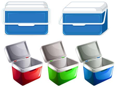 Conjunto de ilustración de contenedor de caja de hielo