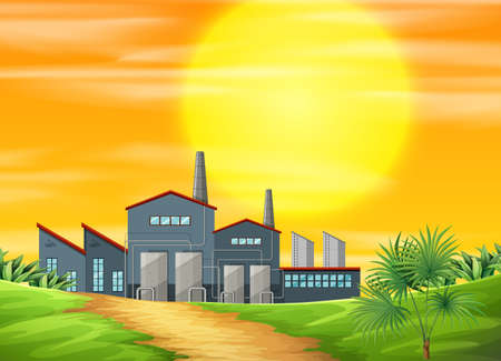 A factory ay rural scene illustration