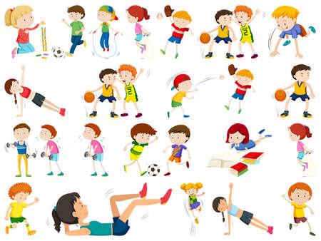 conjunto de ilustración de personas activas Ilustración de vector