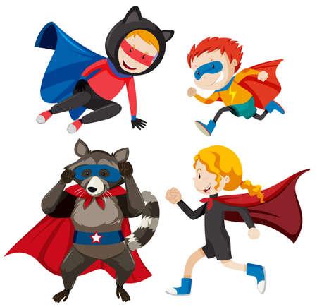 Set of different super heros illustration