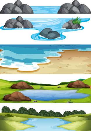 Set of nature scenes illustration