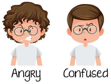 Angry and confused boy illustration Illustration