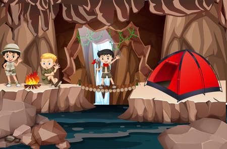 Kid scouts exploring cave illustration Vectores
