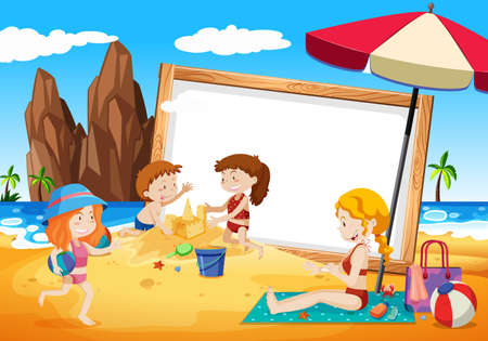 families on beach frame illustration