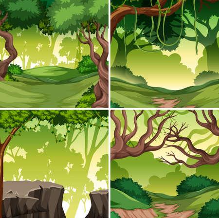 Set of tropical rainforest background illustration 版權商用圖片 - 122922910