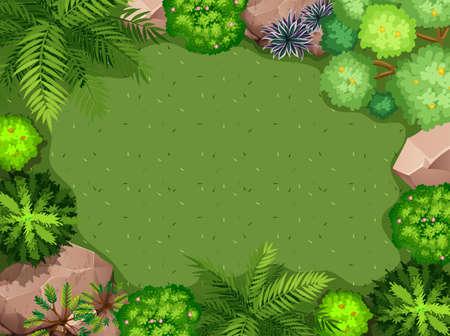 Vista aérea de la ilustración del jardín