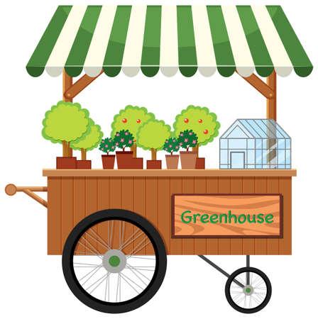 Plant cart shop stall Illustration