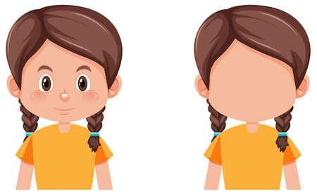 Conjunto de ilustración de niña de trenzas Ilustración de vector