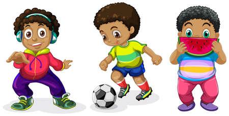 Set of chubby boy character illustration Иллюстрация