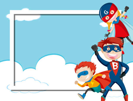 Superhero on sky frame illustration
