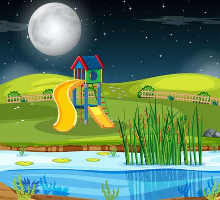 A playground scene at night illustration Illustration