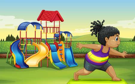 Dziewczyna robi joga w parku ilustracji
