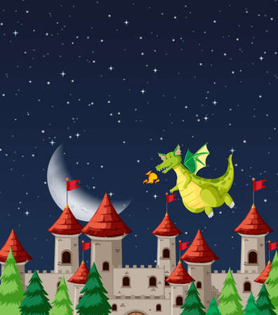 Dragon at the castle illustration