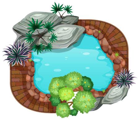 A pond aerial view illustration Reklamní fotografie - 122776709