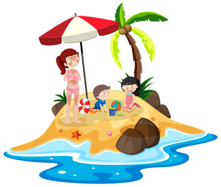People at the island vacation illustration