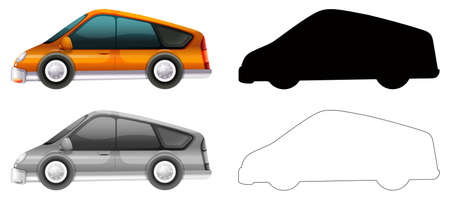 Set of car transportation illustration