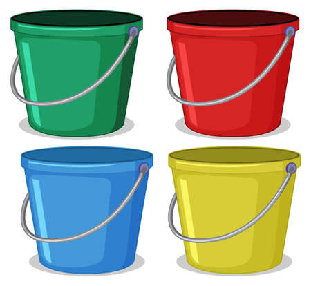 Set of colourful bucket illustration Ilustração