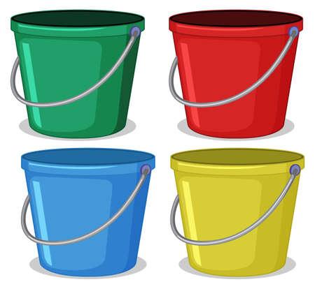 Set of colourful bucket illustration Illustration