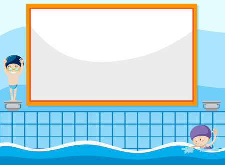 Swimming kid on banner template illustration